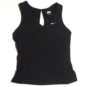 NIKE Black Semi Cropped Top Fitted V Neck Style XS